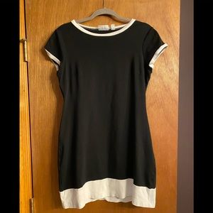 NY and Co Cotton Black/White Colorblock Dress Med